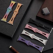 Strap For Apple Watch 44mm Band 40mm 6 5 4 SE 42mm 38mm Women Leather Watchband Wrist Bracelet Belt