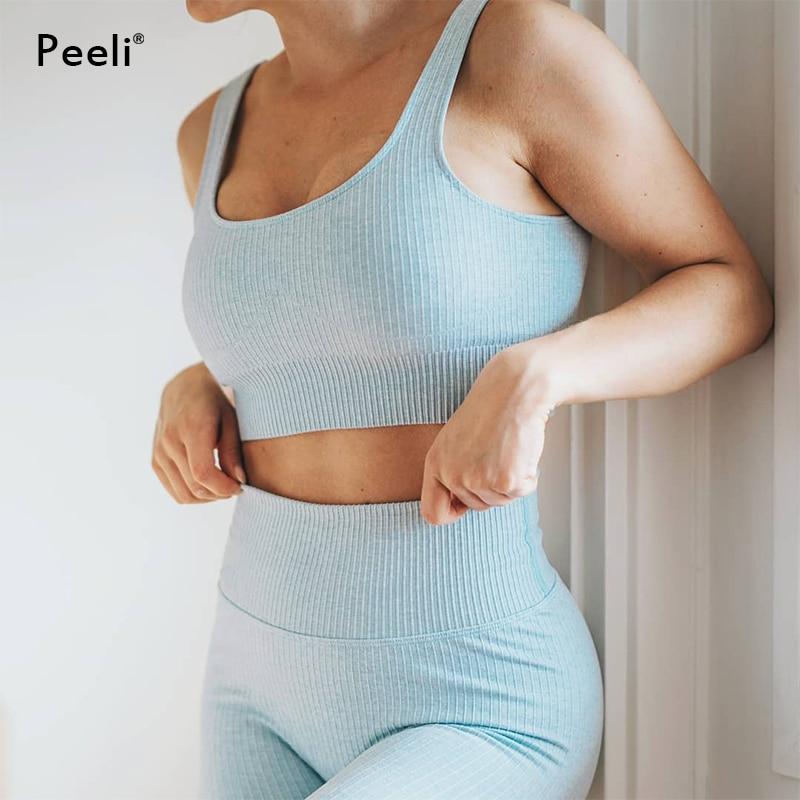 Conjunto deportivo de Fitness para mujer, conjunto de Yoga acanalado sin costuras, ropa elástica de gimnasio, Leggings deportivos de cintura alta, Sujetador deportivo acolchado para entrenamiento