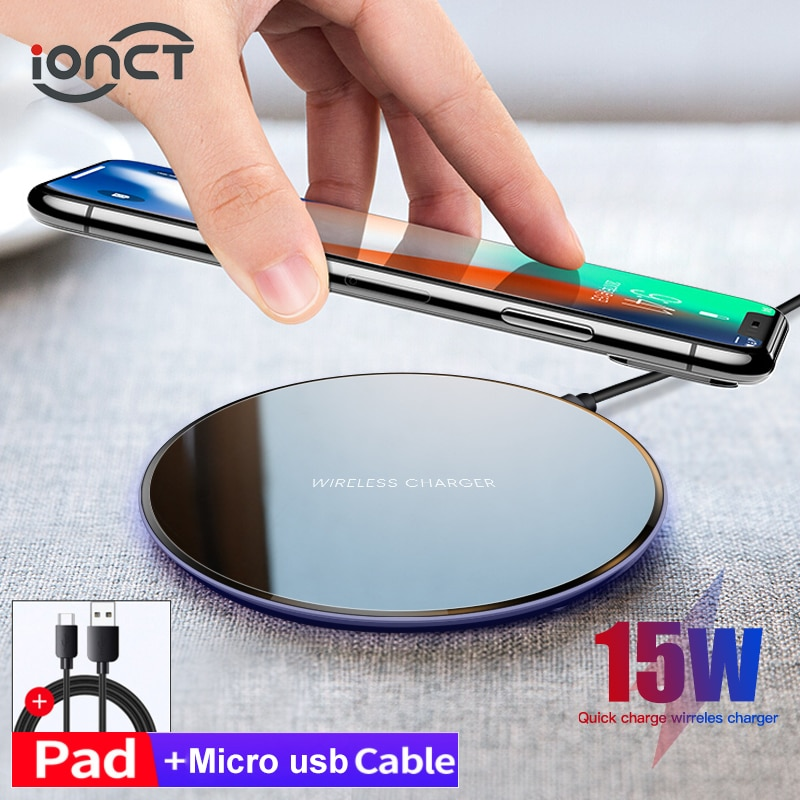 iONCT 15W qi Wireless Charger pad for iPhone X XR XS 11 12 8 fast wirless Charging Samsung S10 note9
