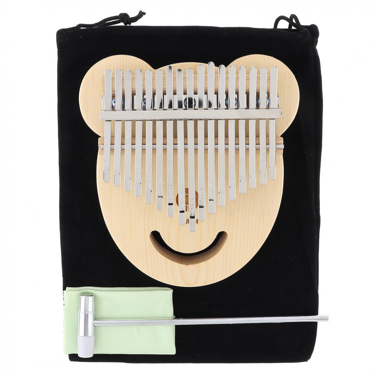 17 Key Thumb Piano  Spruce Bear Face Shape Thumb Piano Kalimba Mbira with Tuning Hammer Keyboard Instruments enlarge