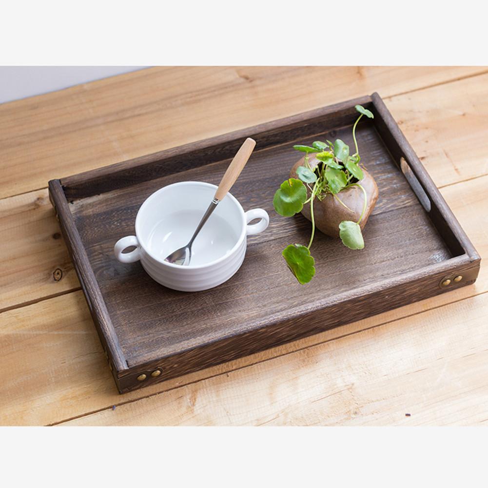 Plateau rectangulaire en bois massif à thé   Vaisselle de table, plateau de support pour le petit déjeuner, pour la maison et lhôtel Zen, cérémonie de thé