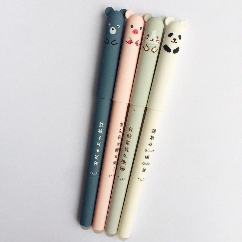 Стираемая гелевая ручка M203, стираемая с мультяшным рисунком свиньи, панды, легко стирается, Волшебная стираемая гелевая ручка, необходимая ...