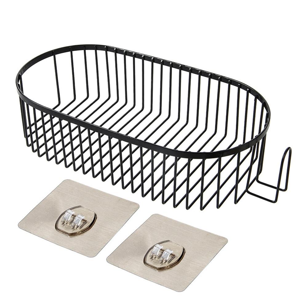 رف حمام غسول الشامبو لكمة الحرة طبقة واحدة سميكة الحديد المطاوع تخزين الرف البيضاوي الصابون سلة دش المنزل العلبة