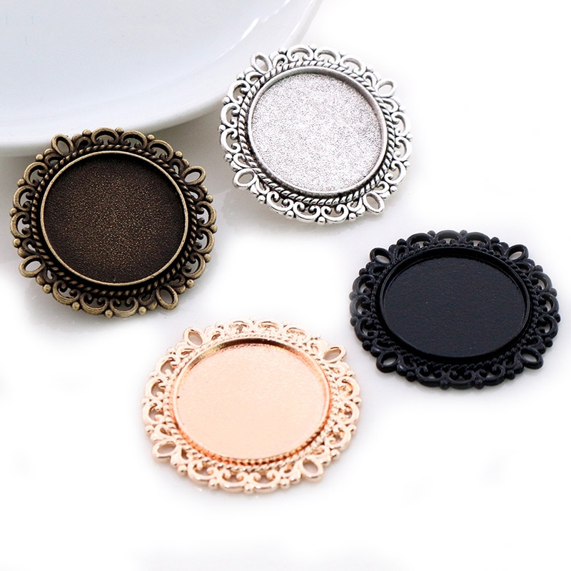 10pcs 20mm Inner Size Antique Silver Plated Bronze Rose Gold Black Classic Style Cabochon Base Setting Charms Pendant