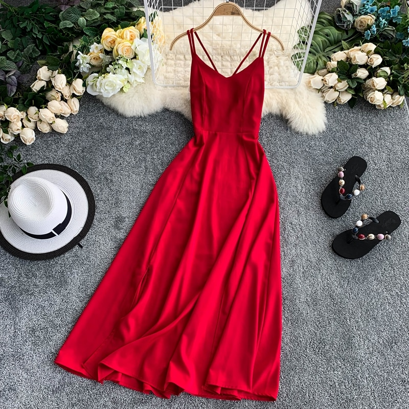 Verão vintage boho praia longo midi vestido feminino 2020 v-neck cruz cinta elegante sexy vermelho sem encosto fino hem fenda vestido feminino