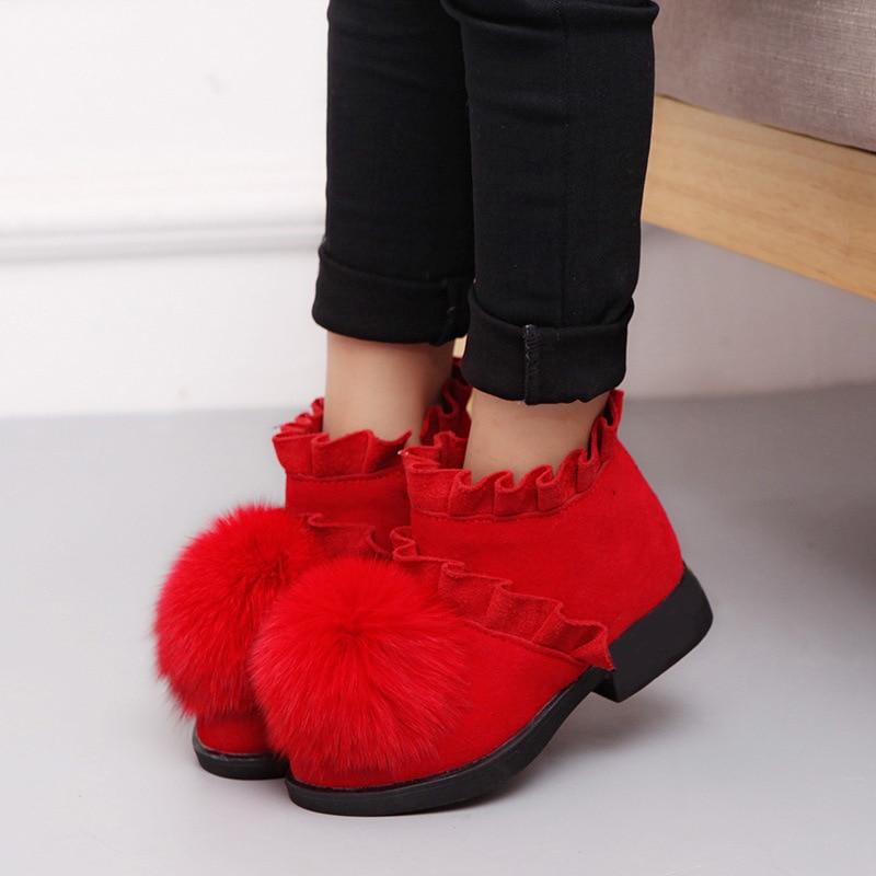 Buty dziewczęce buty bawełniane dziecięce futrzane buty skórzane polarowe grube dno jesienne i zimowe nowe buty księżniczki Zip śniegowce 19