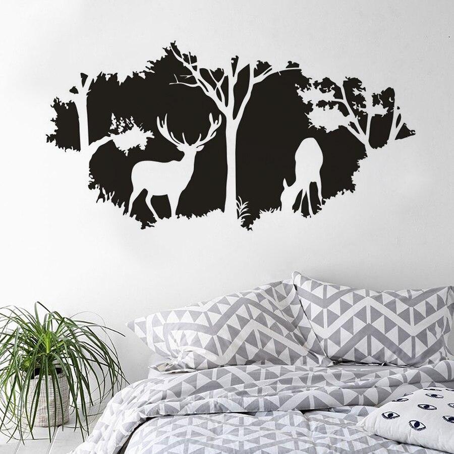 Bosque tema decoración ciervos salvajes arte en la pared con animales calcomanía bosque caza calcomanía de vinilo para pared escondiendo patrón de papel tapiz de venado 4235