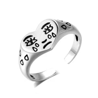 vintage neutral smiley face ring for women antique silver color opening student ring hip hop punk trend new 2021