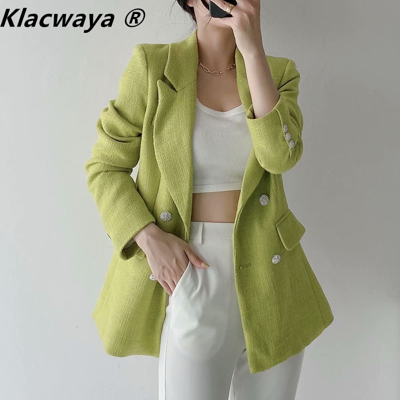 Klacwaya 2021 Za المرأة الصيف موضة جديدة الأخضر سليم زر من اللؤلؤ الديكور التلبيب كم طويل الملمس دعوى سترة الإناث