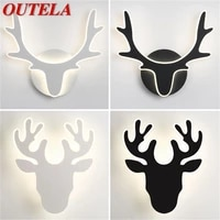outela nordic creative wall sconces lamp modern deer head light fixtures for home indoor bed room decoration