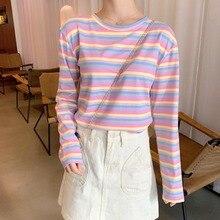 Femmes arc-en-ciel couleur rayé T-shirt printemps été Style coréen Harajuku T-shirt col rond filles douces à manches longues décontracté T haut