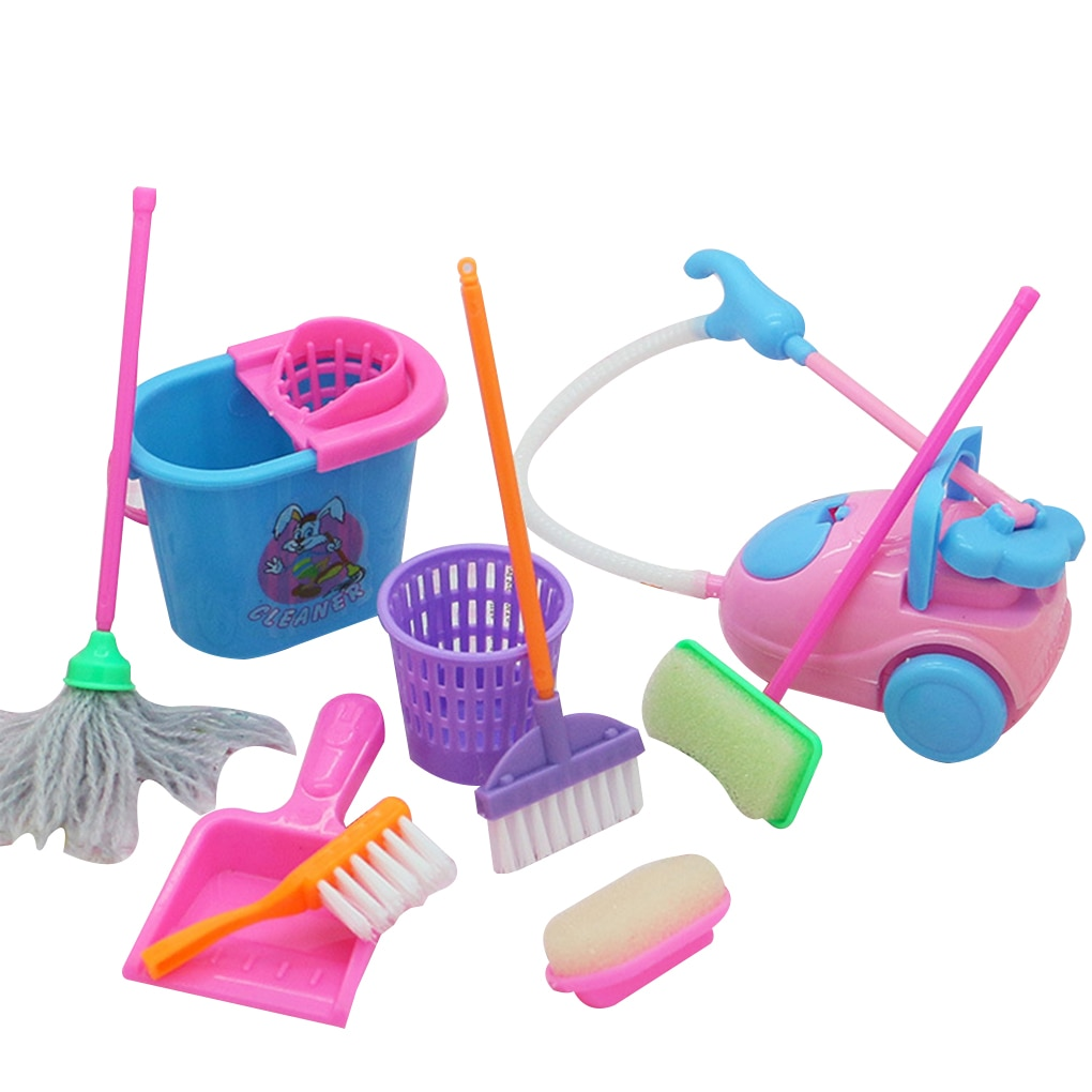 9 teile/satz Mini Puppe Zubehör Haushalt Reinigung Werkzeuge Für Barbie Puppe Zubehör Hohe Qualität Puppenhaus Kinder Pädagogisches Spielzeug