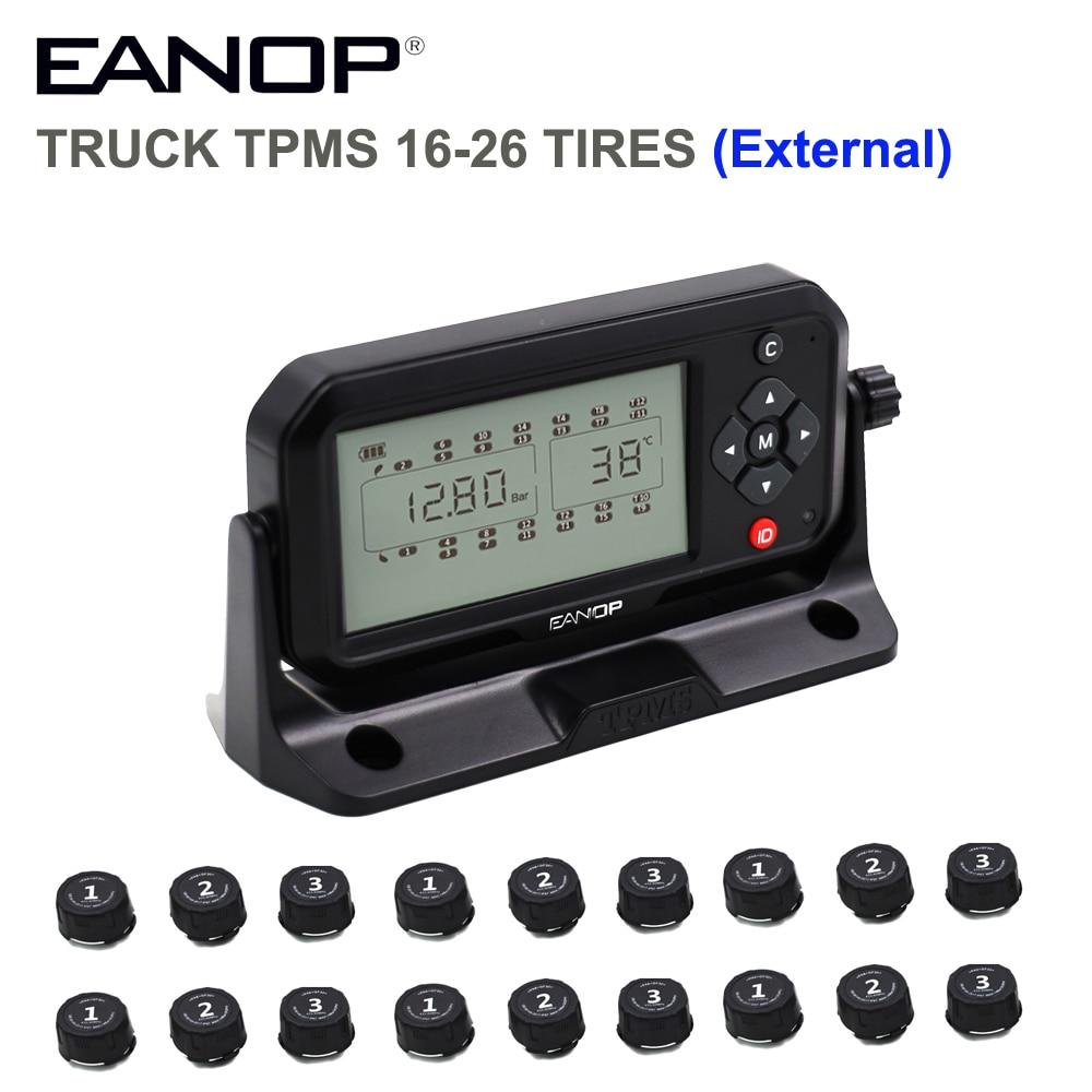 EANOP-نظام مراقبة ضغط الإطارات ، TPMS 16/26 عجلات ، شاشة LCD رقمية ، شريط خارجي/PSI للشاحنات والحافلات والمقطورات