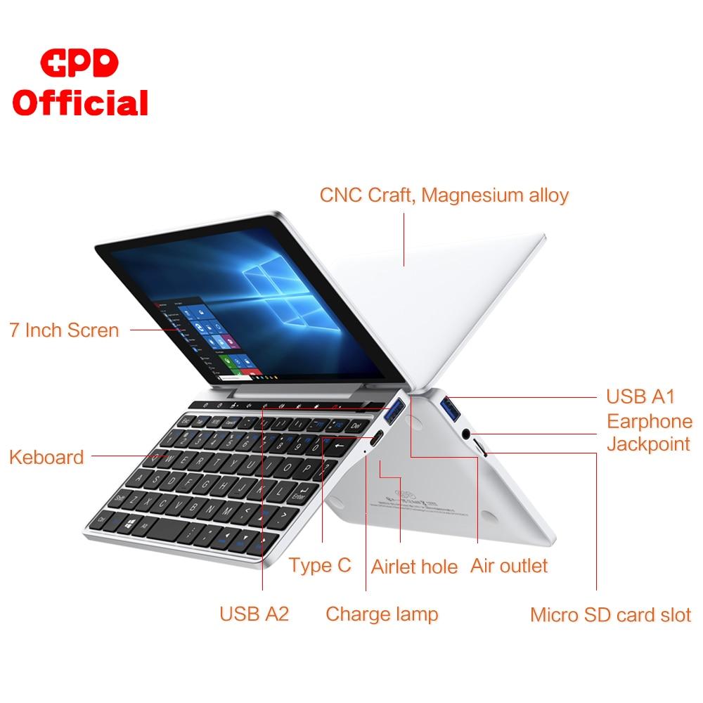 Latest Pocket Slim Laptop Ultrabook GPD Pocket 2 8GB+256GB 7 Inch Mini PC Computer Netbook Notebook IPS Touch Screen Windows 10 8