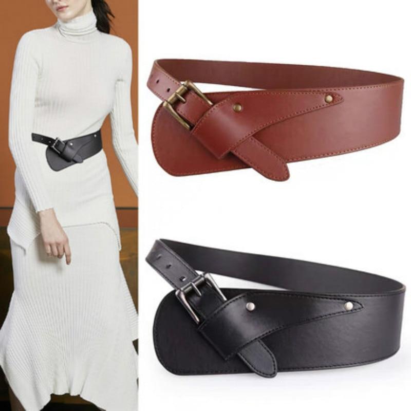 Fashion Women Wide PU Belts Ladies Wild Dresses Belt Cummerbunds Waistsize 76-86 fashion show Imitat