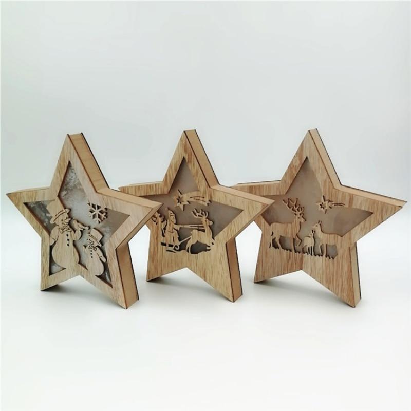 Bonita caja de luz de Navidad con forma de estrella hueca de madera, adorno de escritorio, lámpara luminosa con Árbol de Navidad, colgante, decoración de Navidad