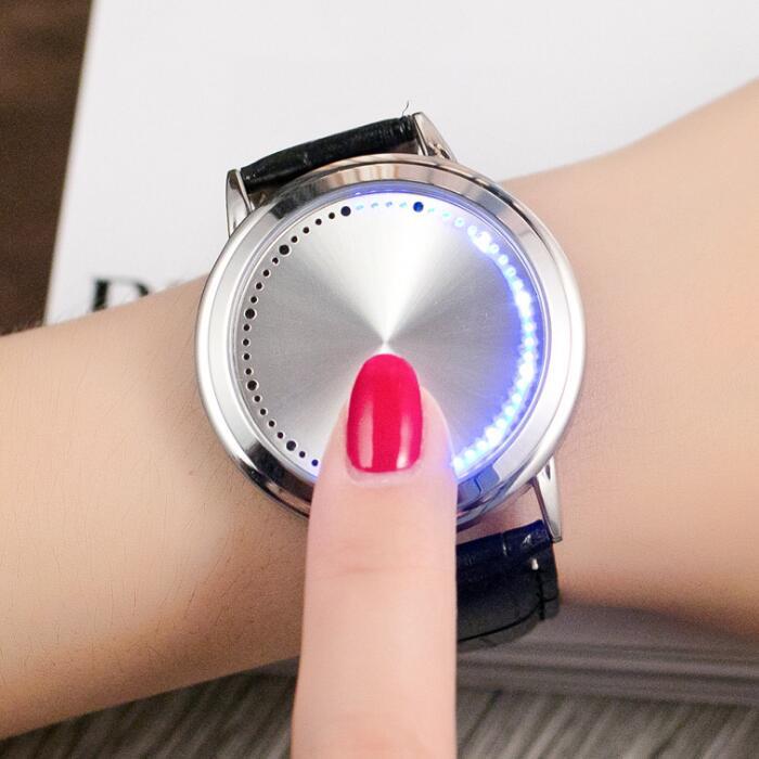Mulheres criativas led toque relógios moda couro relógio de pulso senhoras relógio de pulso mujer kol saati montre feminino