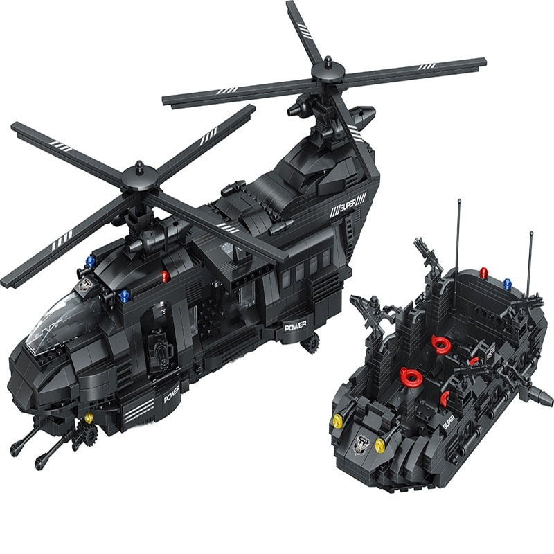 1351 Pcs New Theme transport helicopter Building Blocks Model Medium  transport plane Block  Military  Bricks Toys For Kids Gift