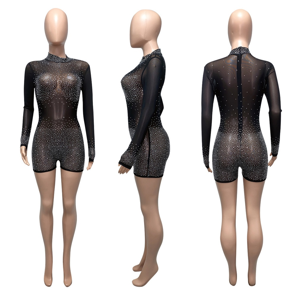 Bulk Items Wholesale Lots Sexy Bodycon Biker Playsuit Mesh Sheer Rhinestone Perspective Romper Office Lady Long Sleeve Outfits enlarge