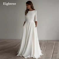 simple a line beach long sleeves wedding dresses with pockets crepe boat neck boho bridal gowns plus size mariage dress robes