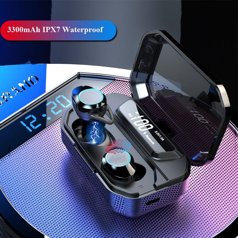 Befon TWS 5,0 auricular Bluetooth IPX7 impermeable Hi-Fi 9D estéreo auriculares inalámbricos con LED Smart Touch 3300Mah soporte de auriculares
