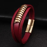 new 3 layers red genuine leather men women bracelets trendy gold annulus stainless steel chain link cuff charm bracelets