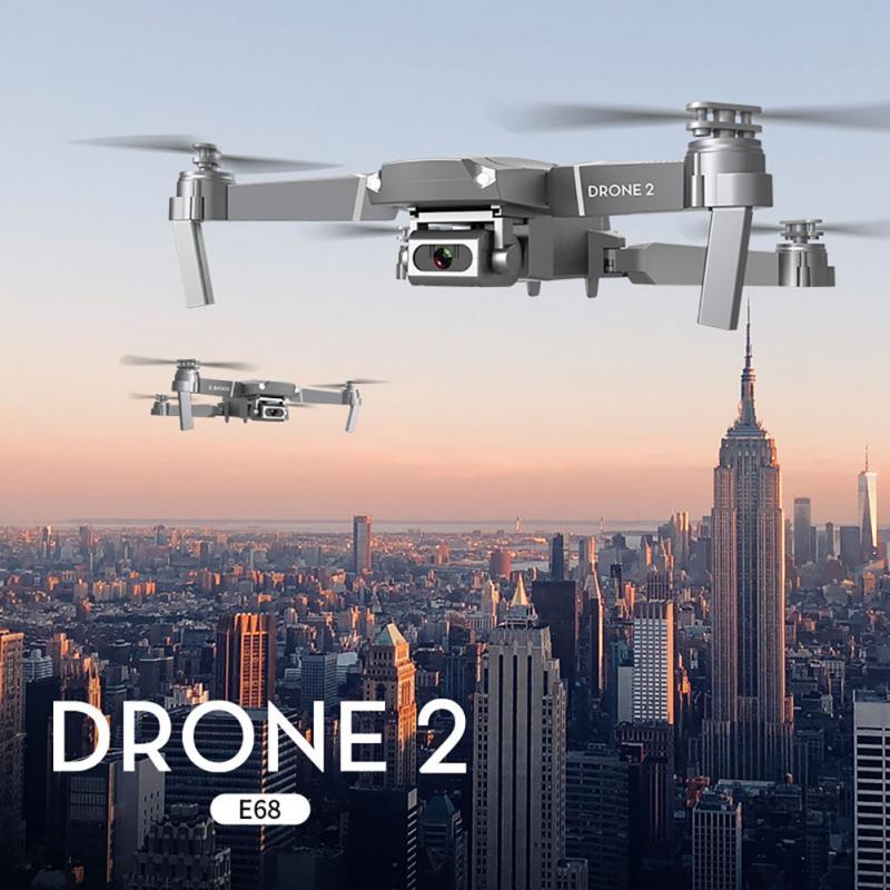 Cuadricóptero plegable E68 multifunción RC Dron recargable plástico vídeo gran angular 2,4 GHz HD Cámara WIFI FPV mantenimiento de altitud