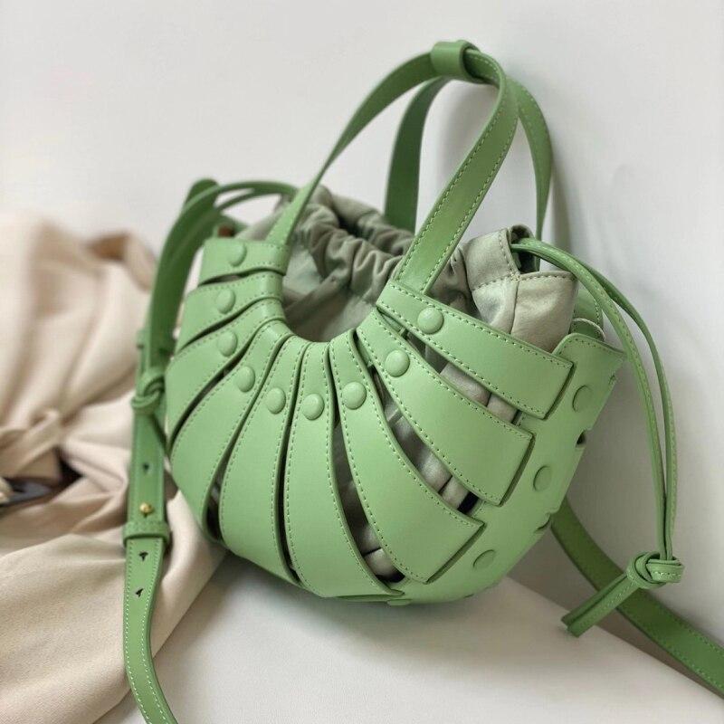 Novidades Fashion Genuine Leather Shell Bolsa Women's Vacation Estilo Vegetable Basket Luxury Brand Shoulder Crossbody Handbag Spot 2021