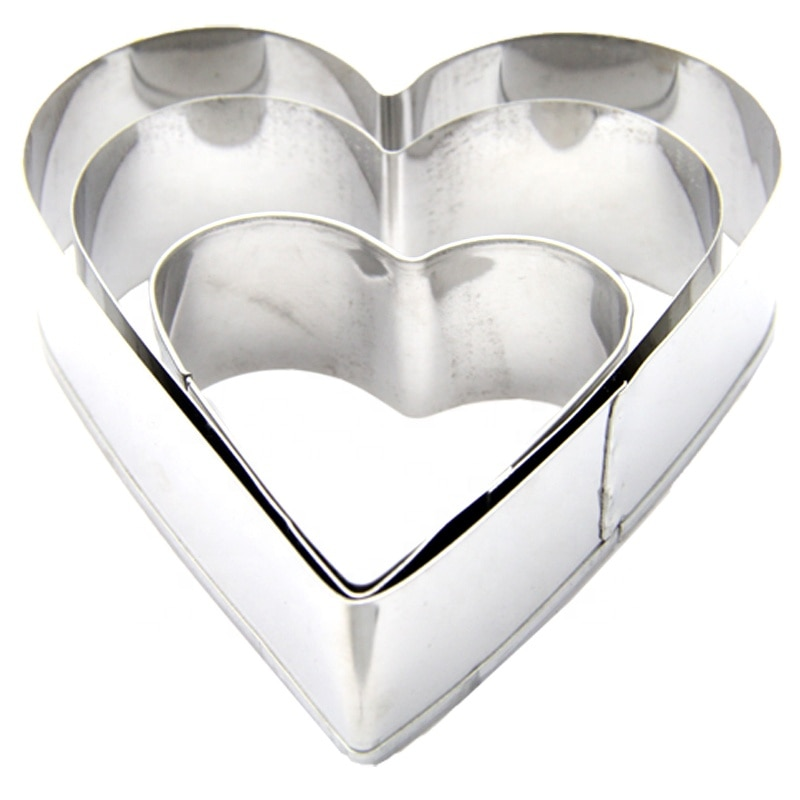 3-pieza de acero inoxidable molde de corazón para tarta de mousse de anillo de pan de molde herramientas para hornear pastel