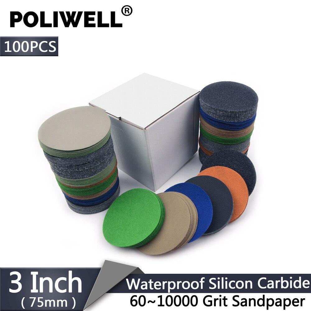 POLIWELL 100 piezas 3 pulgadas 75mm 60-10000 Grit flocado papel de lijado mojado papel de lija seco coche faro lijado disco de pulido de papel
