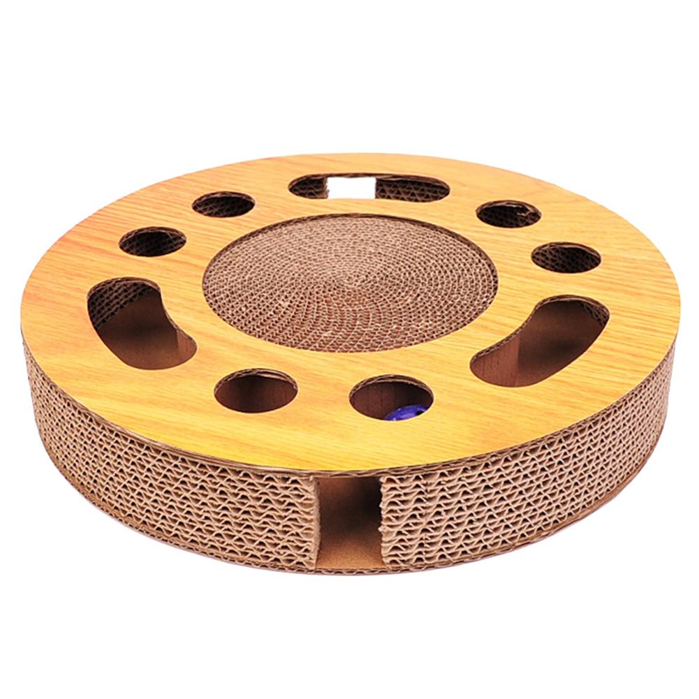 Pet Cat Scratch Board corrugado entrenamiento de papel con Catnip Bell Ball redondo Multi agujeros resistente al desgaste hogar Grind garra disco juguete