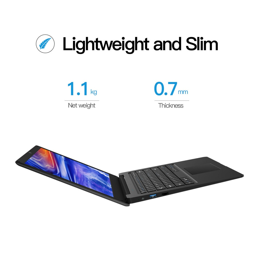 12.5 Inch N3350 Slim Small Mini Laptop 4G RAM 64G SSD Ultrabook Business Office Notebook Cool Black Netbook Portable PC Computer