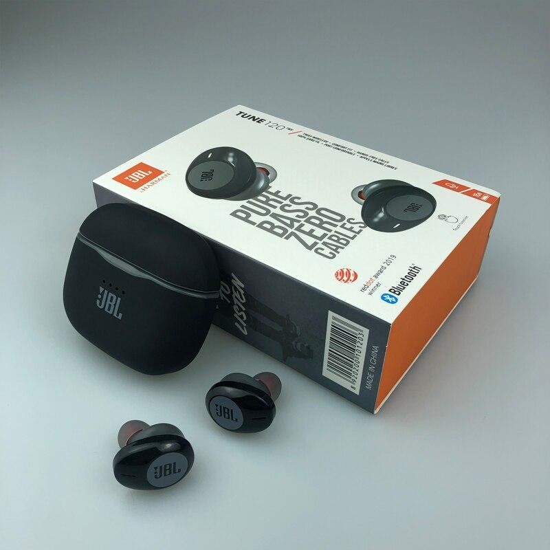 Jbl sons 120tws bluetooth fones de ouvido sem fio intra-auricular com microfone estéreo caso de carregamento