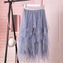 2020 Summer Women Fluffy Skirt Fashion High Waist Irregular Spodnica Tutu Lace Mesh Jupe Star Female Sequins Girl Skirt