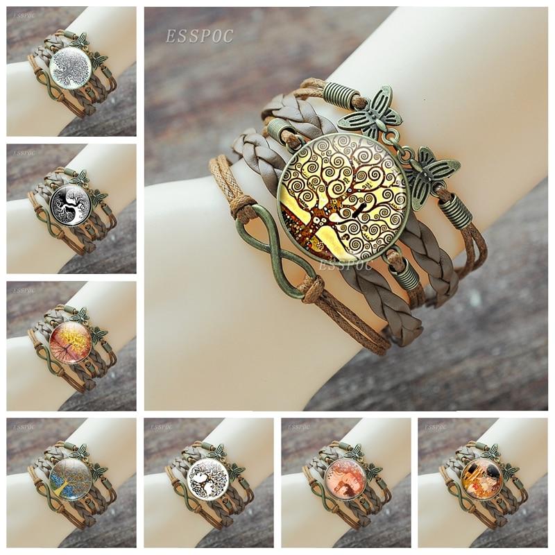 Klimt Art Jewelry Tree of Life the Kiss Glass Cabochon Bracelet Handmade Infinity Leather Charm Bracelets
