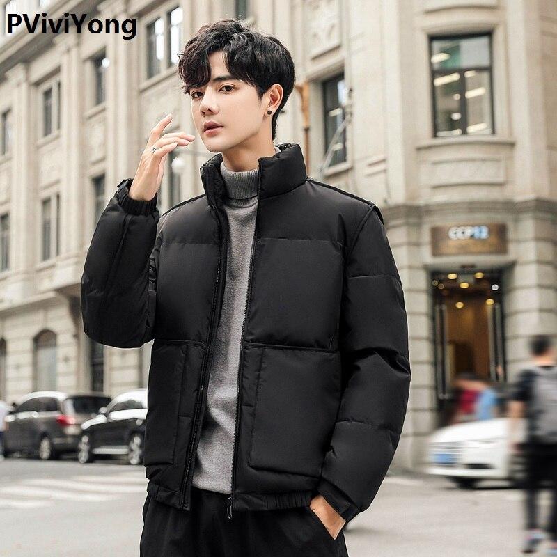 PViviYong 2019 Winter new high quality White duck down jacket men's  coat,Mandarin Collar thicked parkas men 7803
