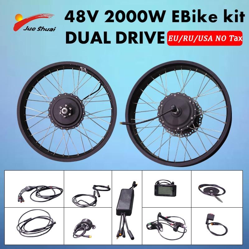 JS 48V2000W-Kit de buceo Dual para bicicleta eléctrica rueda con Motor de...