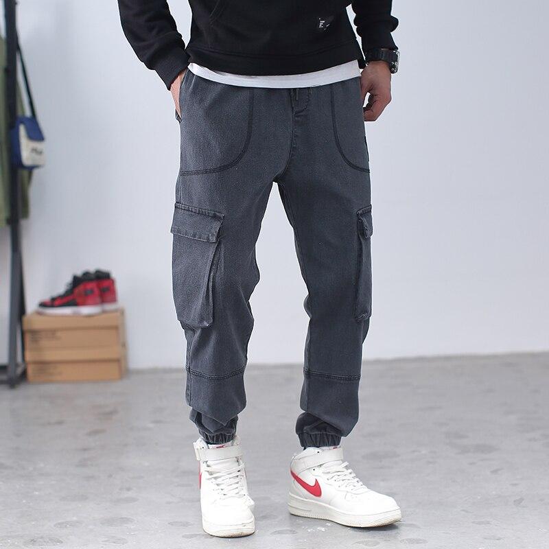 Calça jeans harem longa masculina, comprimento do tornozelo, solta, de corrida, multi-bolsos, 6xl 7xl 8xl