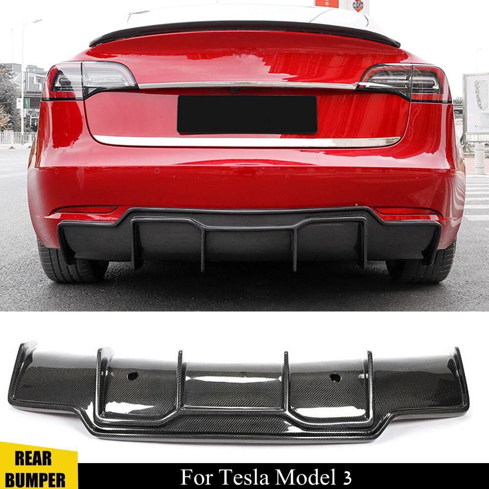 Fibra de carbono para difusor de parachoques trasero Spoiler Chin para Tesla Model 3 trasero difusor de labio Protector 2015 2016 2017 2018 2019