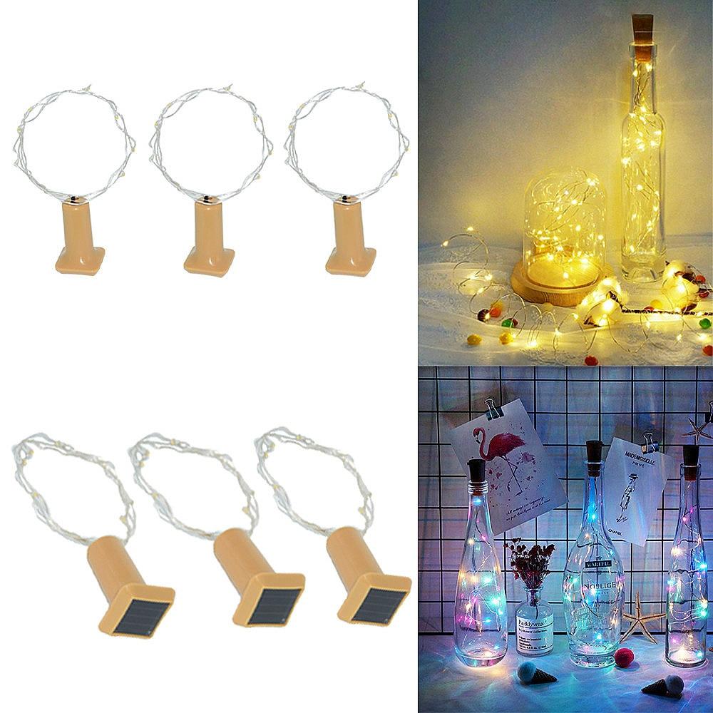 LED Solar Light Wine Bottle Light String Cork Copper Wire Solar Lamp Outdoor Indoor Fairy Solar Lights For Garden Decoration