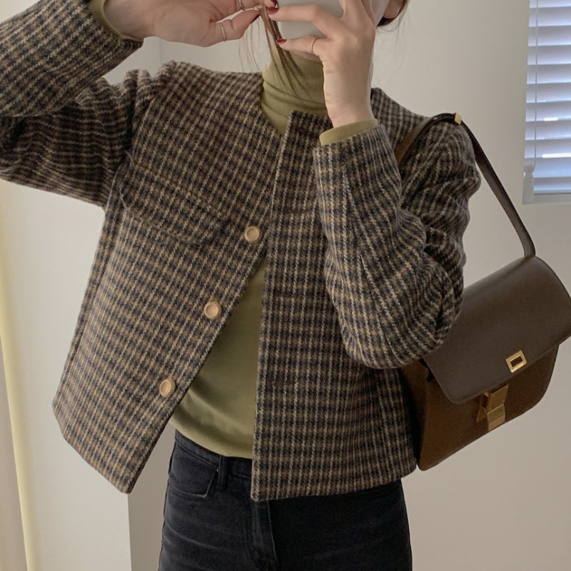 الخريف الشتاء Vintage منقوشة معطف المرأة طويلة الأكمام س الرقبة واحدة الصدر فضفاض السيدات جاكيتات أنيقة ملابس خارجية الكورية نمط
