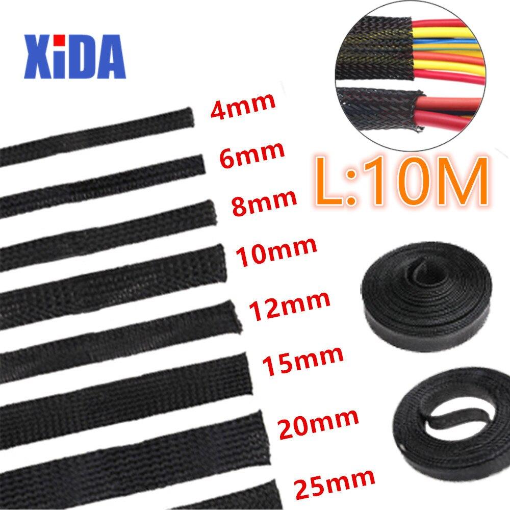 5/10M, aislamiento negro, manga trenzada, 2/4/6/8/10/12/15/20/25mm, protección de Cable PET, prensaestopas expansibles para cables