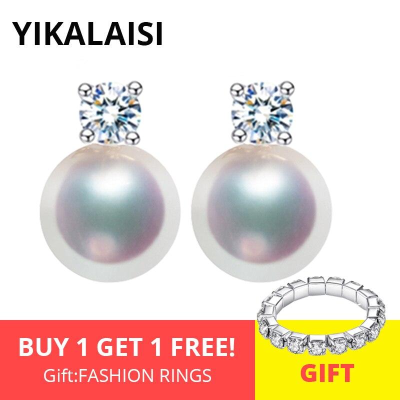 Pendientes YIKALAISI de Plata de Ley 925, perlas naturales de agua dulce, joyería a la moda para mujer, 8-9mm, perlas AAA, circonita, 4 colores