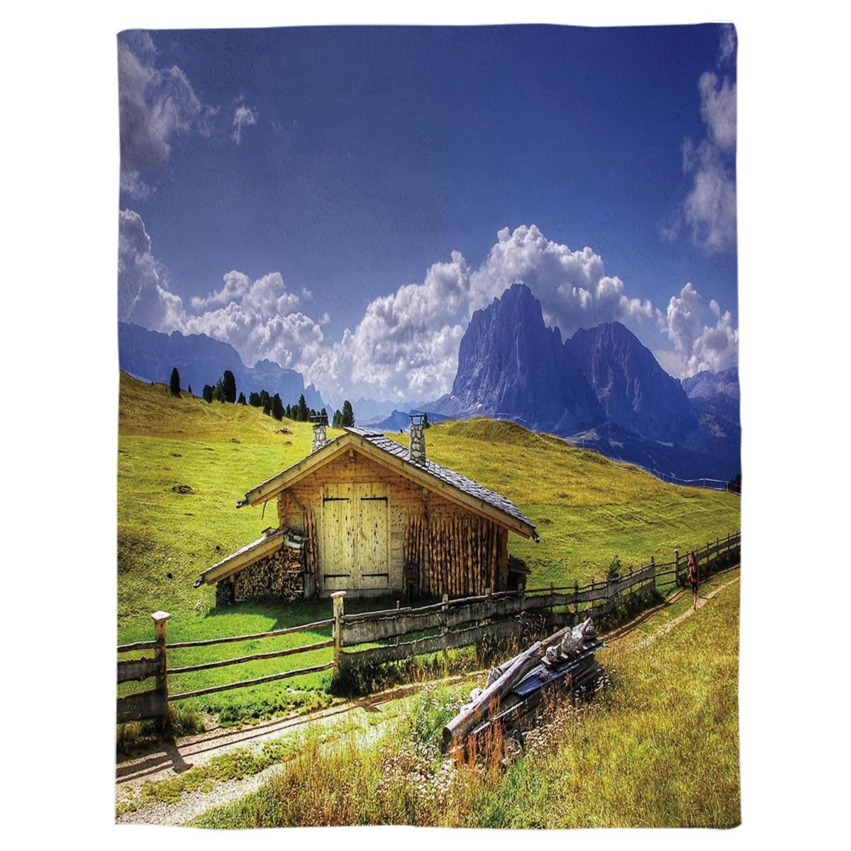 Pastizales cabaña peatonal montañas azul cielo nubes blancas de lana de Coral Fuzzy mantas en la cama lanza sábana para niños niñas