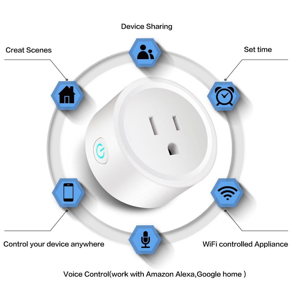 Toma pop inteligente Mini enchufe Wifi Wi-Fi habilitado aplicación remota Control temporizador inalámbrico con interruptor de encendido/apagado