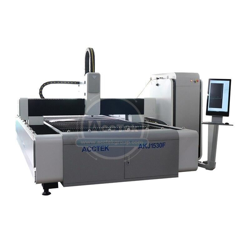 Preço com desconto cnc mesa tipo máquina de corte a laser de fibra 1kw 2kw 3kw 4kw para folha de aço inoxidável akj1530f3