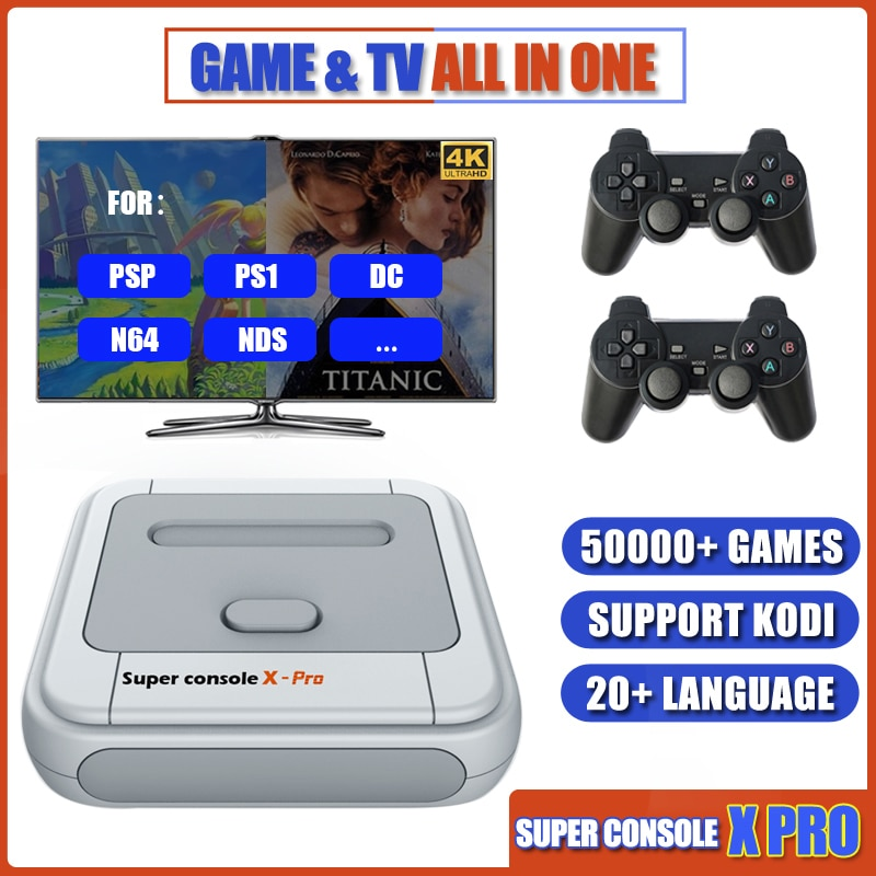Super Console X Pro TV Video Game Console Build in 50000+ Games Support WiFi KODI Plug and Play Retro Console for PSP/PS1/N64/DC