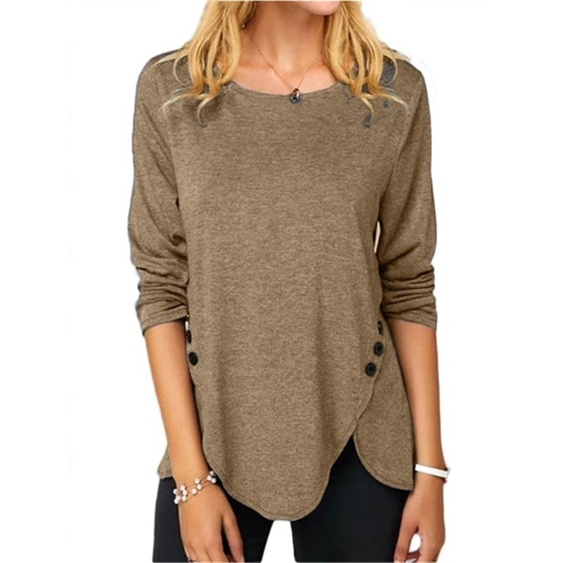 Women Round Neck Long Sleeves Button T-Shirt Solid Color Loose Plus Size Cotton Irregular Pullover black spell color round neck long sleeves t shirt
