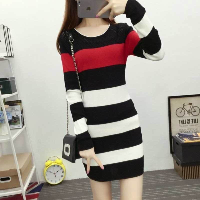 Lucyever Striped Women Sweater Dress Long Sleeve Slim Hollow Out O Neck Knit Pullover Mini Dress Casual Korean Fashion Vestido