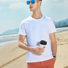 Summer High Quality 15 Color S-3XL Plain T Shirt Man Cotton Elastic Basic Tshirt Men's Casual Tops Short Sleeve Blank T-shirt